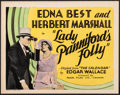 "Movie Posters:Drama, Bachelor's Folly (Regal Films, 1931). Fine/Very Fine. Canadian Title Lobby Card (11"" X 14"") Canadian Title: Lady Panniford..."