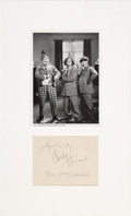 Music Memorabilia:Autographs and Signed Items, The Three Stooges Group Signature Matted With Black and White Photo....