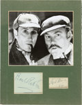 Movie/TV Memorabilia:Autographs and Signed Items, Sherlock Holmes Basil Rathbone/Nigel Bruce Signatures Matted With Black and White Photo. ...