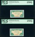 World Currency, Hong Kong Government of Hong Kong 5 Cents ND (1941) Pick 314 KNB4 Two Consecutive Examples PCGS Superb Gem New 67PPQ.. ... (Total: 2 notes)