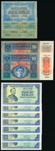 World Currency, A European Lot that includes Czech Republic and Austria Very Fine-Crisp Uncirculated.. ... (Total: 21 notes)
