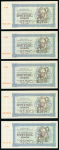 World Currency, Czechoslovakia Republika Ceskoslovenska 2000 Korun 1945 Pick S50As Group of 5 Specimen About Uncirculated.. ... (Total: 5 notes)