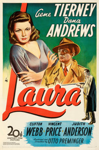"""Laura (20th Century Fox, 1944). Fine+ on Paper. One Sheet (27"""" X 41""""). From the Mike Kaplan Collection"""