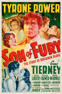 "Son of Fury (20th Century Fox, 1942). Folded, Very Fine+. One Sheet (27"" X 41"") Style A. From the Mike Kaplan..."