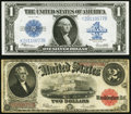Fr. 60 $2 1917 Legal Tender Fine-VF, pinhole; Fr. 237 $1 1923 Silver Certificate XF. ... (Total: 2 notes)