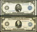 Fr. 871a $5 1914 Federal Reserve Note Fine-VF; Fr. 931a $10 1914 Federal Reserve Note Fine, soft surfaces.<