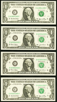 Repeater $1 Federal Reserve Notes. Four Examples. Choice Crisp Uncirculated or Better. 40354035 Fr. 1928-E 2003; 403...