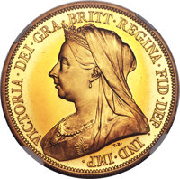 Heritage Select. 207. Great Britain: Victoria gold Proof 5 Pounds 1893 PR65 Cameo NGC, KM787, S-3872. The frosted(PCGS#...