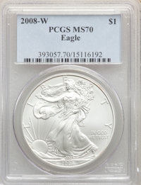 2008-W $1 Silver Eagle, Burnished MS70 PCGS. PCGS Population: (3783). NGC Census: (22550). Mintage 533,757....(PCGS# 393...