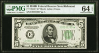 Fr. 1958-E* $5 1934B Federal Reserve Note. PMG Choice Uncirculated 64 EPQ