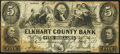 Obsoletes By State:Indiana, Goshen, IN- Elkhart County Bank $5 Dec. 1, 1853 Fine-Very Fine.. ...