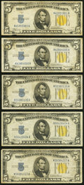 Fr. 2307 $5 1934A North Africa Silver Certificates. Five Examples. Fine-Very Fine or Better