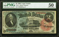 Fr. 42 $2 1869 Legal Tender PMG About Uncirculated 50