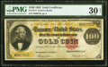 Large Size:Gold Certificates, Fr. 1214 $100 1882 Gold Certificate PMG Very Fine 30 Net.. ...