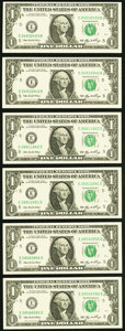 Small Size:Federal Reserve Notes, Three Radar and Repeater Pairs Fr. 1932-E $1 2006 Federal Reserve Notes Choice Crisp Uncirculated or Better.. ... (Total: 6 notes)
