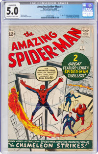 The Amazing Spider-Man #1 (Marvel, 1963) CGC Conserved VG/FN 5.0 Off-white to white pages