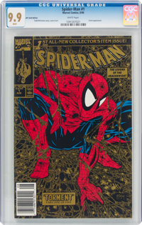 Spider-Man #1 Gold Edition with UPC Code (Marvel, 1990) CGC MT 9.9 White pages