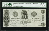 Tallahassee, FL- Territory of Florida $1 18__ Cr. T8RP Reprint PMG Choice Uncirculated 63