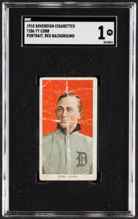 1909-11 T206 Sovereign Ty Cobb (Portrait, Red Background) SGC Poor 1