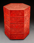 Carvings, A Chinese Carved Cinnabar Lacquer Five-Tiered Box with Cover, 20th century . 18-1/2 x 13-5/8 inches (47.0 x 34.6 cm). ...