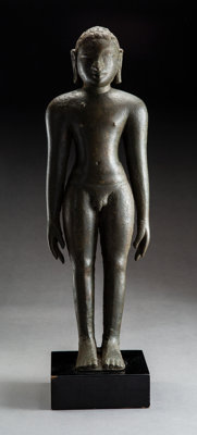 An Important South Indian Copper Alloy Standing Figure of a Digambara Jina, 9th century 17-3/4 x 5-1/2 x 4-1/2 inc