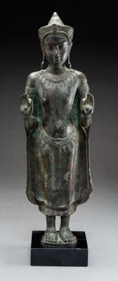 A Fine Thai Lopburi-Style Copper Alloy Figure of Crowned Buddha, 13th century or later 22 x 6-3/4 x 4 inches (55.9