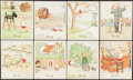 Non-Sport Cards:Lots, 1935-37 J. Wix & Sons Henry's Adventures Series Collection (90). ...