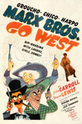 "Movie Posters:Comedy, Go West (MGM, 1940). Very Good on Linen. Autographed One Sheet (27"" X 41"") Style D. Al Hirschfeld Artwork.. ..."