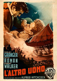 "Strangers on a Train (Warner Bros., 1952). Fine/Very Fine on Linen. Italian 2 - Fogli (39.25"" X 55"") Luigi Mar..."