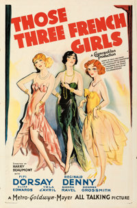 "Those Three French Girls (MGM, 1930). Folded, Very Fine-. One Sheet (27"" X 41""). From the Mike Kaplan Collecti..."