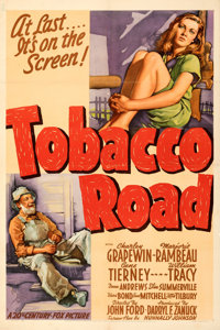 """Tobacco Road (20th Century Fox, 1941). Fine/Very Fine on Linen. One Sheet (27.5"""" X 41"""") Style A. From the Mike..."""