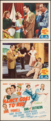 "Nancy Goes to Rio & Other Lot (MGM, 1950). Overall: Fine+. Title Lobby Cards (2), Lobby Cards (7), (11"" X 14&qu..."