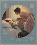 Norman Rockwell (American, 1894-1978) Mother Tucking Children into Bed (Mother's Little Angels) Literary Digest