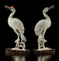 Carvings, A Pair of Chinese Jadeite and Hardstone Cranes with Fitted Stands, 19th century. 12-1/4 x 6-1/2 x 2-3/4 inches (31.1 x 16.5 ... (Total: 4 Items)