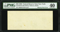 Missing Back Printing Error Fr. 2126-B $50 1996 Federal Reserve Note. PMG Extremely Fine 40