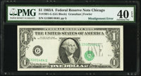 Shifted Third Printing Error Fr. 1901-G $1 1963A Federal Reserve Note. PMG Extremely Fine 40 EPQ