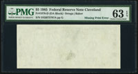Missing Back Printing Error Fr. 1978-D $5 1985 Federal Reserve Note. PMG Choice Uncirculated 63 EPQ