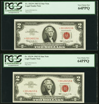 Fr. 1513* $2 1963 Legal Tender Notes Two Examples PCGS Very Choice New 64PPQ. ... (Total: 2 notes)