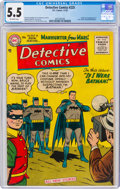 Golden Age (1938-1955):Superhero, Detective Comics #225 (DC, 1955) CGC FN- 5.5 Off-white pages....