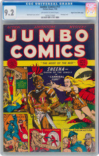 Jumbo Comics #17 Mile High Pedigree (Fiction House, 1940) CGC NM- 9.2 Off-white to white pages