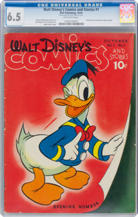 Walt Disney's Comics and Stories #1 (Dell, 1940) CGC FN+ 6.5 Off-white pages