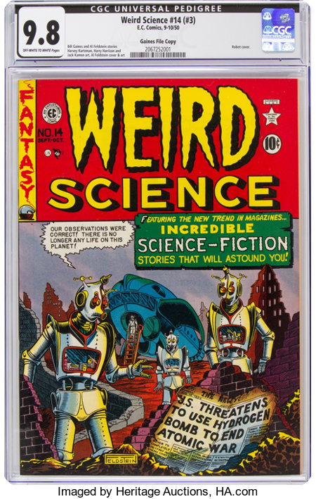 Weird Science #14 (#3) Gaines File Pedigree (EC, 1950) CGC NM/MT 9.8 Off-white to white pages....