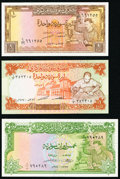 World Currency, Syria Central Bank of Syria 5 Pounds 1958 Pick 87a; 1 Pound 1973 Pick 93c; 1977 Pick 99a Crisp Uncirculated.. ... (Total: 3 notes)