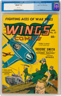 Golden Age (1938-1955):War, Wings Comics #17 Mile High Pedigree (Fiction House, 1942) CGC NM/MT 9.8 White pages....