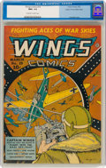 Golden Age (1938-1955):War, Wings Comics #19 Mile High Pedigree (Fiction House, 1942) CGC NM+ 9.6 Off-white to white pages....