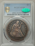 Seated Dollars: , 1869 $1 VF30 PCGS. CAC. PCGS Population: (19/224 and 0/2+). NGC Census: (11/117 and 0/0+). CDN: $510 Whsle. Bid for NGC/PCG...