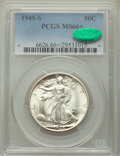 Walking Liberty Half Dollars: , 1945-S 50C MS66+ PCGS. CAC. PCGS Population: (1236/57 and 221/2+). NGC Census: (629/39 and 19/0+). CDN: $180 Whsle. Bid for...