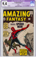 Silver Age (1956-1969):Superhero, Amazing Fantasy #15 (Marvel, 1962) CGC Apparent NM 9.4 Extensive (P) Cream pages....