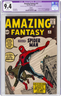 Amazing Fantasy #15 (Marvel, 1962) CGC Apparent NM 9.4 Extensive (P) Cream pages