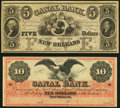 Obsoletes By State:Louisiana, New Orleans, LA- New Orleans Canal and Banking Company $5; $10 18__ Remainders Choice About Uncirculated or Better.. ... (Total: 2 notes)